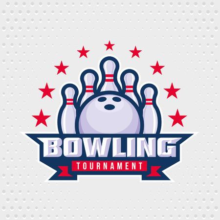 Bowling logo design template, emblem tournament template editable for your design. Vectores