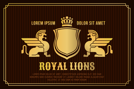 heraldic lion: Golden lions with wings, crown and shield. Heraldic vector illustration. Illustration