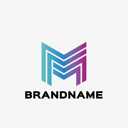 Résumé lettre M logo. modèle de conception de logo d'entreprise Résumé. Logo modèle modifiable pour votre entreprise.