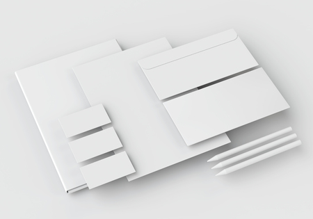 brand identity: White stationery mock-up, template for branding identity on white background with long shadow. For graphic designers presentations and portfolios.