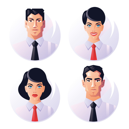 male face: business people avatar icons set including males and females