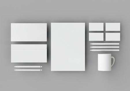 weightlessness: White stationery mock-up template for branding identity on gray background in weightlessness with long shadow. For graphic designers presentations and portfolios. 3D rendering.