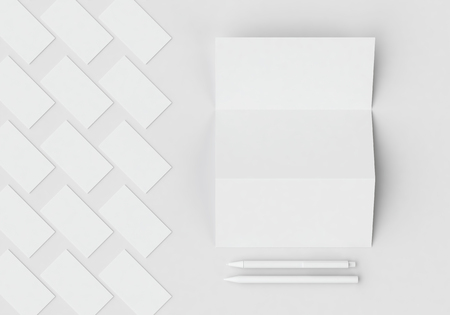 White stationery mock-up template for branding identity on gray background for graphic designers presentations and portfolios. 3D rendering. Foto de archivo