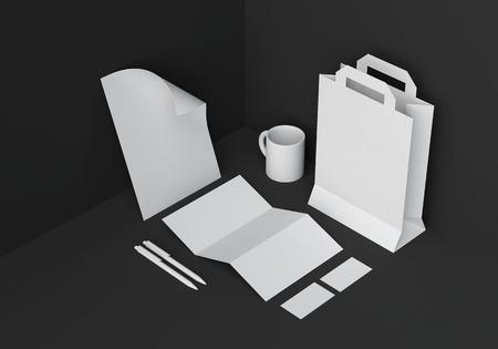 Base white stationery mock-up template for branding identity in black corner for graphic designers presentations and portfolios. 3D rendering. Foto de archivo