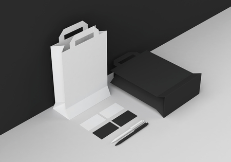 Base black and white stationery mock-up template for branding identity in corner for graphic designers presentations and portfolios. 3D rendering. Foto de archivo