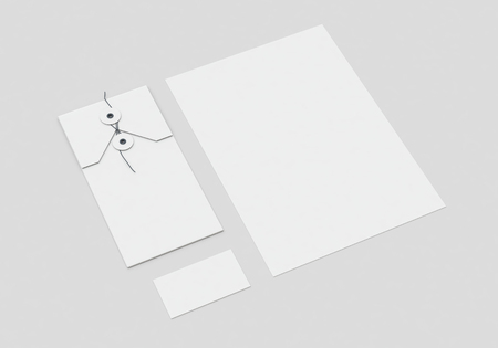 Base white stationery mock-up template for branding identity on gray background for graphic designers presentations and portfolios. 3D rendering. Foto de archivo