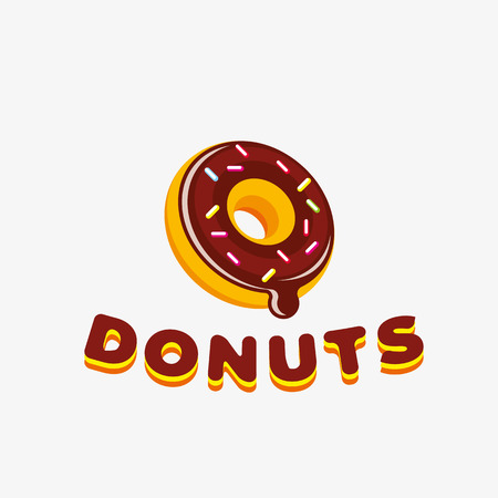 Donut logo design template. Logo template editable for your business.