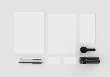 Base white stationery mock-up template for branding identity on gray background for graphic designers presentations and portfolios. Embossing stamp. 3D rendering.