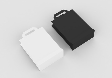 Paper bag with handles mock-up template for branding identity on gray background for graphic designers presentations and portfolios. 3D rendering.