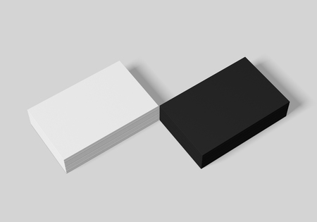 Business card mockup template for branding identity on white  background for graphic designers presentations and portfolios. 3D rendering. Foto de archivo