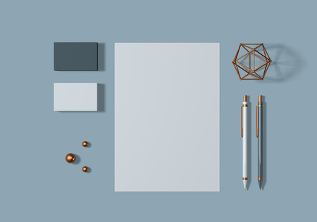 Grey and blue base stationery mockup template for branding identity for graphic designers presentations and portfolios. 3D rendering.