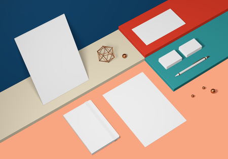 White base stationery mockup template on a colored background for branding identity for graphic designers presentations and portfolios. 3D rendering.
