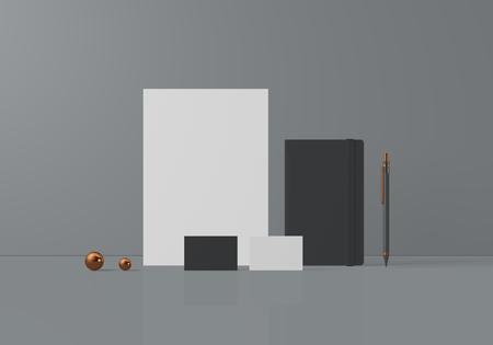 Grey  base stationery mockup template for branding identity for graphic designers presentations and portfolios. 3D rendering.