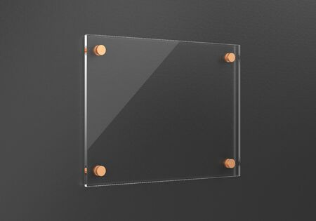 Glass plate mockup on the wall.  Template for your design.3d rendering