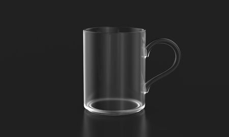 Transparent glass mug on dark background mockup. 3d rendering