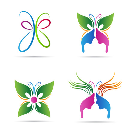 donna farfalla: Abstract design farfalla vettore rappresenta segni salone, spa, bellezza e moda. Vettoriali