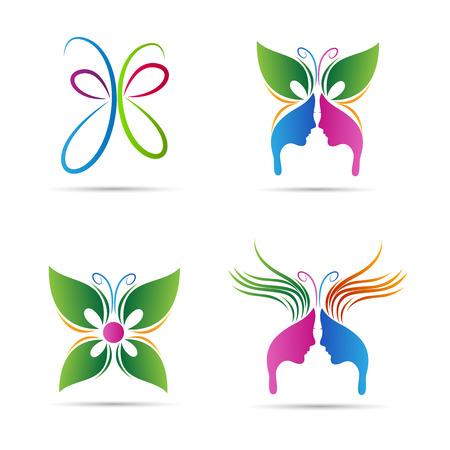 femme papillon: Conception abstraite de vecteur de papillon représente signes salon, spa, de beauté et de mode.
