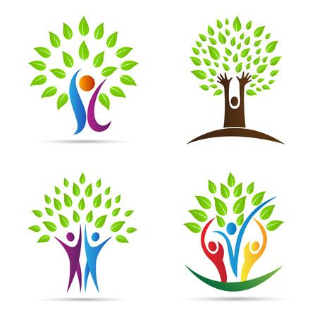 Abstract boom vectorontwerp vertegenwoordigt ecologie, sparen groene en groene aardtekens. Stock Illustratie