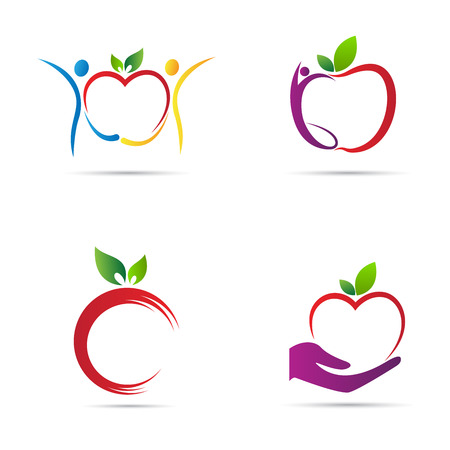 food illustrations: Apple logo vector design represents back to school, healthy life and fruit shop logo concept.