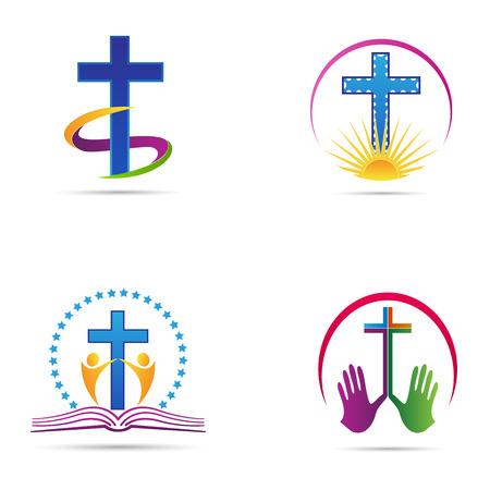ベクトル十字設計はキリスト教の組織および教会ロゴ看板を表します。  イラスト・ベクター素材