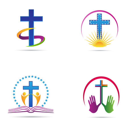 churches: Cross vector design represents christian organisation and church logo signs.