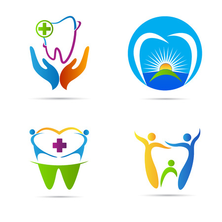 Dental care logo vector design represents family dental care and medical signs. 일러스트