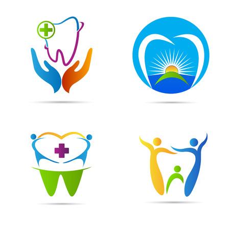 Diseño vectorial Insignia del cuidado dental representa el cuidado dental de la familia y muestras médicas.