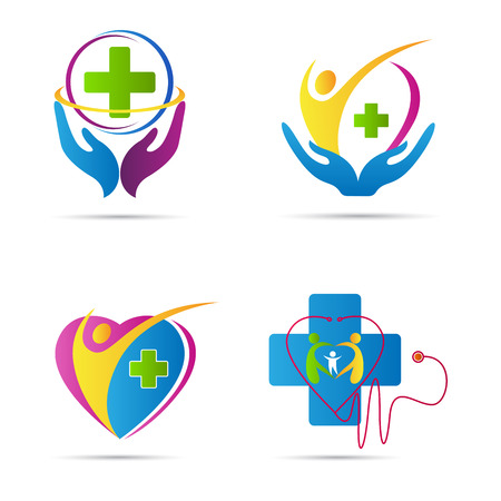 saludable logo: Diseño vectorial atención de la salud representa el cuidado de la salud familiar y signos médicos. Vectores