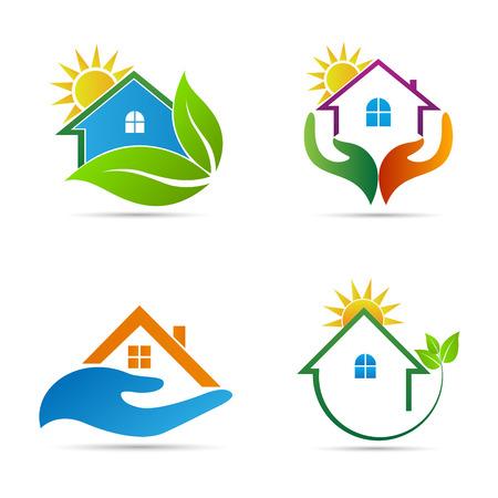illustrazione sole: Home design icone vettore rappresenta ecologia casa, assistenza domiciliare e immobiliare logo concetto. Vettoriali