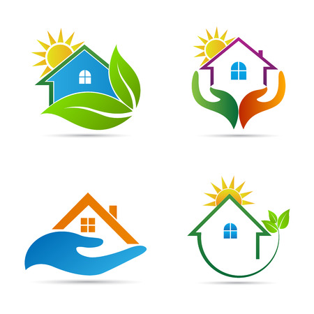 leaf logo: Home icons vector design represents ecology home, home care and real estate logo concept.