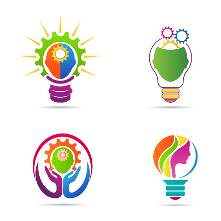 creativity logo: Idea mind gear vector design represents creative thinking and different business ideas concept.