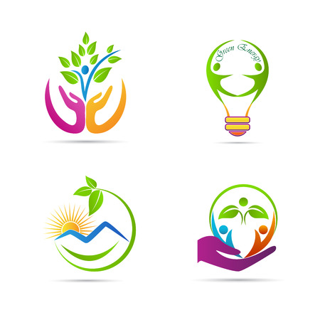 recycling logo: Nature icons vector design represents ecology, green care and save nature concept.