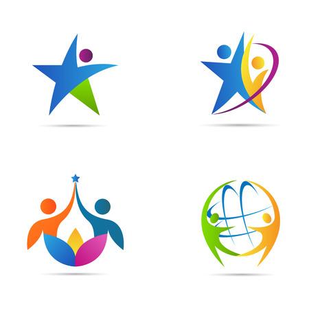 Mensen logos vector design vertegenwoordigt fitness en zakelijke icoon concept. Stock Illustratie