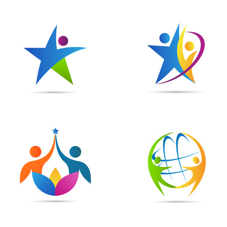 star shape: People logos vector design represents fitness and business icon concept.