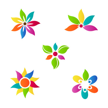 Abstract flower vector design represents decorative and company purpose.