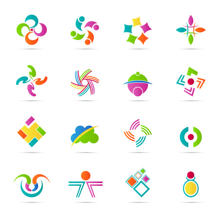 Abstract icons vector design represents design elements and company Stock Illustratie
