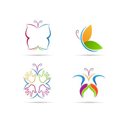 donna farfalla: Disegno farfalla vettore rappresenta la moda, la bellezza e il concetto di spa Vettoriali