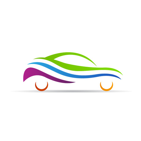 Abstract car logo vector design isolated on white background. Stock Illustratie