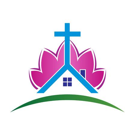 simbolos religiosos: Resumen de diseño vectorial logotipo de la iglesia aislado sobre fondo blanco.