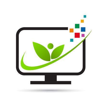 Computer icon vector design represents Eco friendly digital visual media isolated.