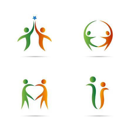 alegria: Diseño del vector logo Pareja aislados en fondo blanco.
