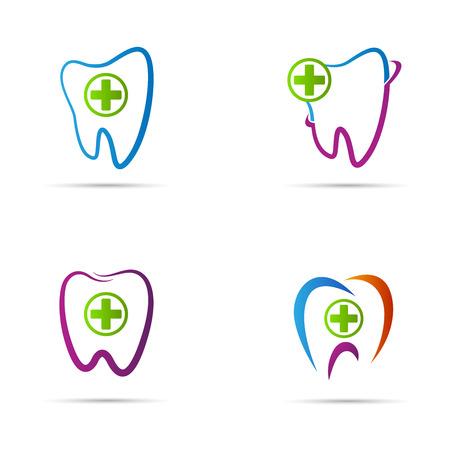 歯科のロゴのベクトルのデザインは、歯科治療の概念を表します。