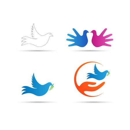 鳩のロゴのベクトルのデザインは、世界の平和と創造的なデザイン要素を表します。