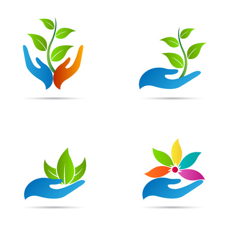 Hand with leaf vector design represents save nature, ecology, green care and spa. Vettoriali
