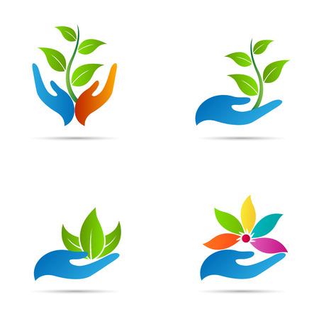 Mano con la hoja de diseño vectorial representa salvar la naturaleza, la ecología, el cuidado verde y spa. Ilustración de vector