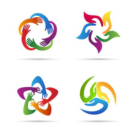 manos logo: Diseño de manos de vectores de fondo representa el trabajo en equipo, la unidad, signos y símbolos.