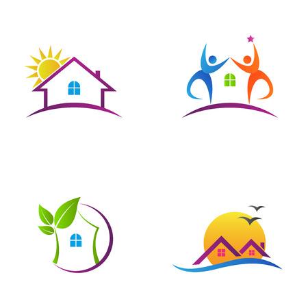 不動産と eco 友好的な住宅ホーム ロゴのベクターを表します。
