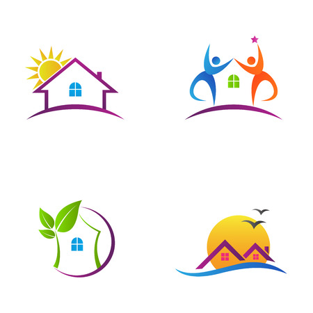 Home logos vector design represents real estate and eco friendly home. Illusztráció