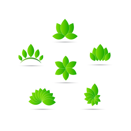 抽象的なリーフ柄を表す装飾的な要素と会社のロゴ