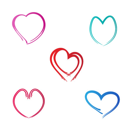 Love shapes vector design isolated on white background.